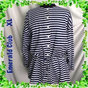 Emerald Club Navy Blue White Striped Jacket XL